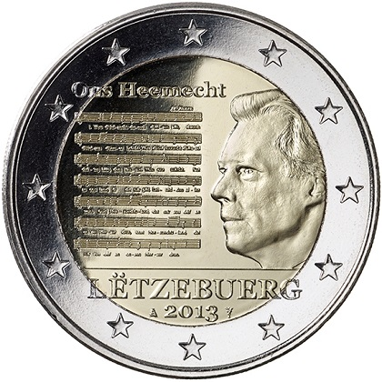 2 euros commémorative Luxembourg 2013 l'hymne national