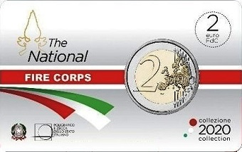Coincard FDC Italie 2020, 2 € euro BU commémorative 2020 Italie The National Fire corps