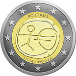 2 EUROS COMMEMORATIVE PORTUGAL 2009, UEM 1999-2009