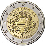 2 EUROS COMMEMORATIVE PORTUGAL 2012, 10 ans de l-euro