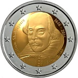 pièce 2 euros 2016 saint marin william shakespeare